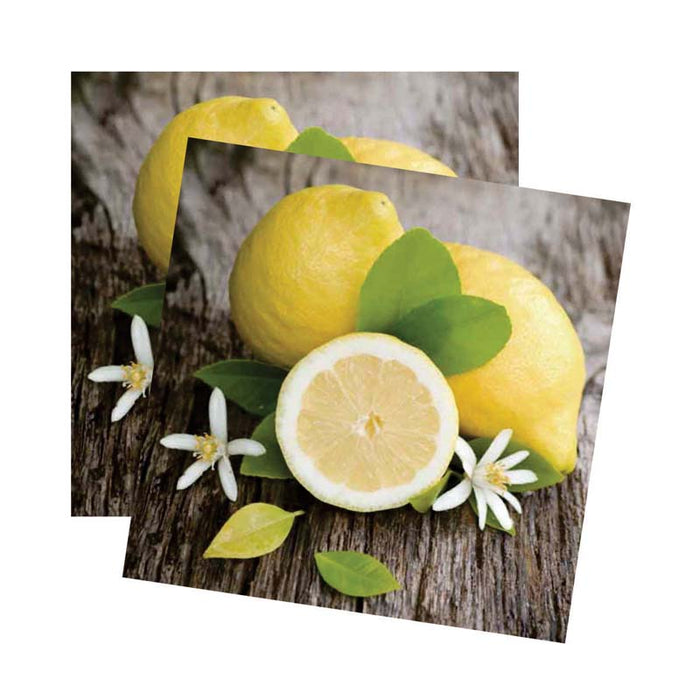 REGENT 3 PLY PAPER SERVIETTES - FRESH LEMONS, 20 PIECE (330X330MM)x10 - DECO-Vie