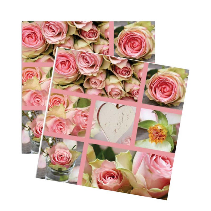 REGENT 3 PLY PAPER SERVIETTES - ROSE DESIGN, 20 PIECE (330X330MM)x10 - DECO-Vie
