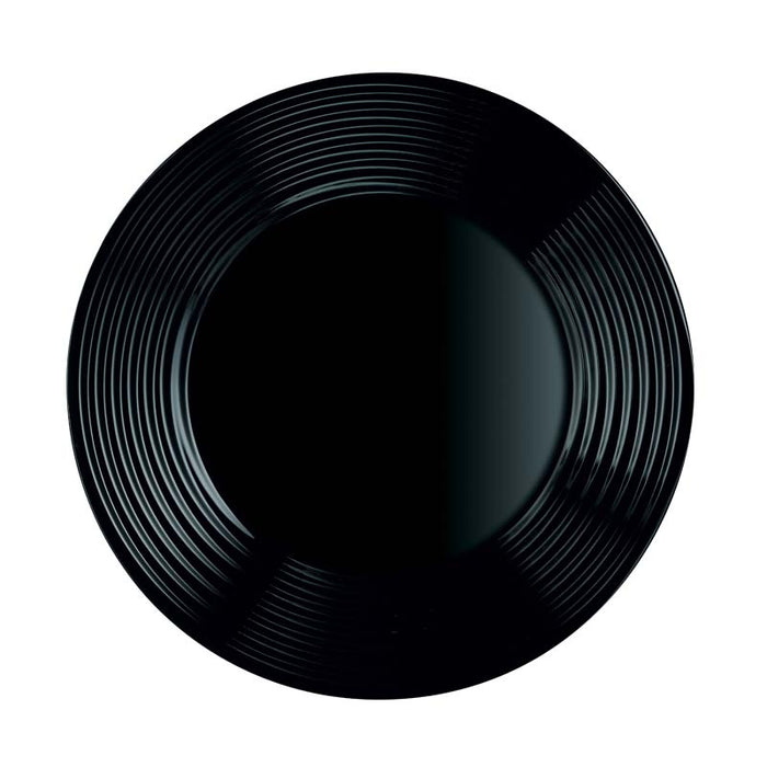 LUMINARC HARENA BLACK TEMPERED GLASS DINNER PLATE (250MM:DIA)x12 - DECO-Vie