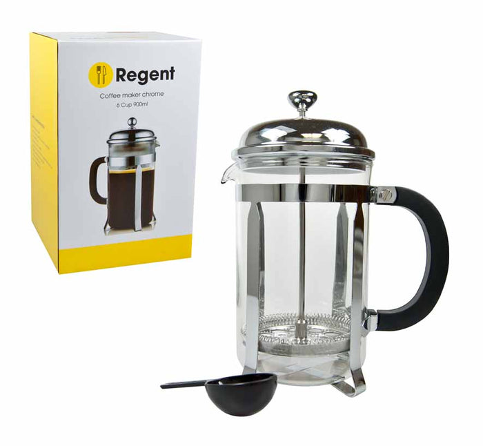 REGENT COFFEE PLUNGER WITH CHROME FRAME, 6 CUP (800ML) - DECO-Vie