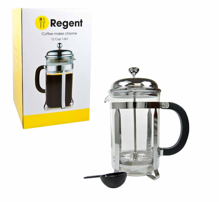 REGENT COFFEE PLUNGER WITH CHROME FRAME, 8 CUP (1L) - DECO-Vie