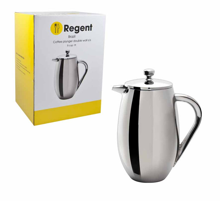 REGENT COFFEE PLUNGER DOUBLE WALL S/STEEL BRAZIL, 8 CUP (1L) - DECO-Vie