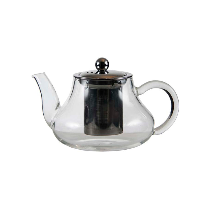TEA POT GLASS WITH S/S INFUSER 600ML-S/S LID - DECO-Vie