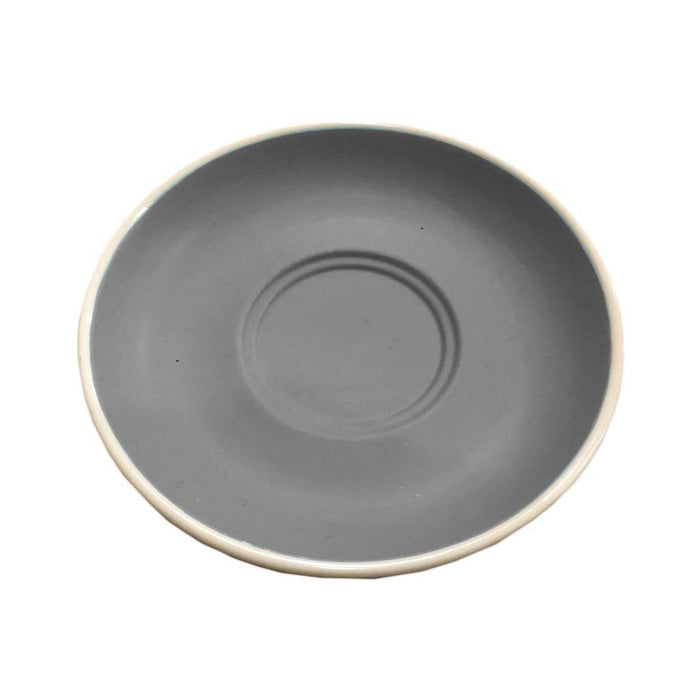 STONEWARE CAP. & LONG BLACK DOUBLE WELL SAUCER MATT GREY (140MM:D) - DECO-Vie