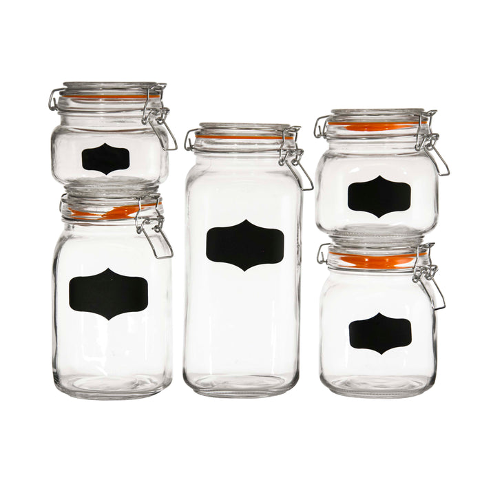 REGENT HERMETIC GLASS CANISTERS GLASS WITH CLIP-SEAL & BLACKBOARD NOTES, 5 PIECE SET - DECO-Vie