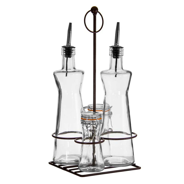 REGENT CONDIMENT SET IN BLACK STAND, 4 PIECE SET (2X500ML | 2X120ML) - DECO-Vie
