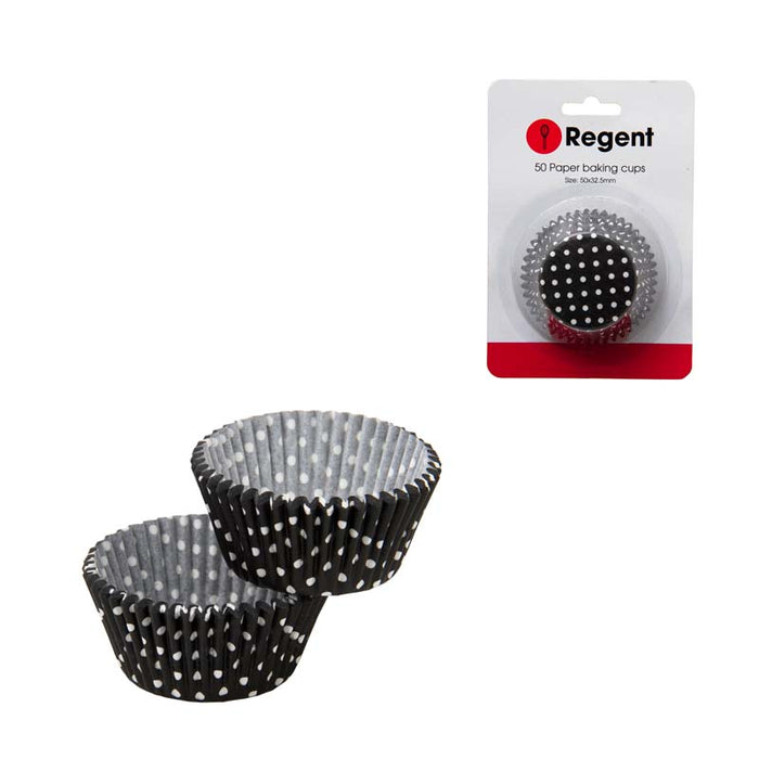 REGENT CAKE CUPS BLACK W/WHITE DOTS 50PC 50MM:DX32.5MM - DECO-Vie