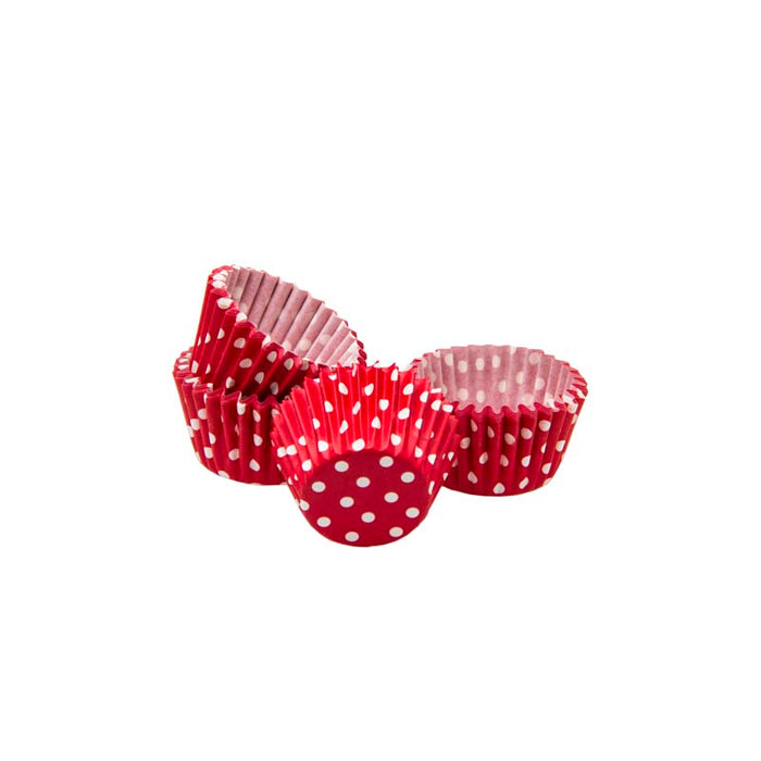 REGENT CAKE CUPS MINI RED WITH WHITE DOTS, 60 PIECES (27MM:DX25MM) - DECO-Vie