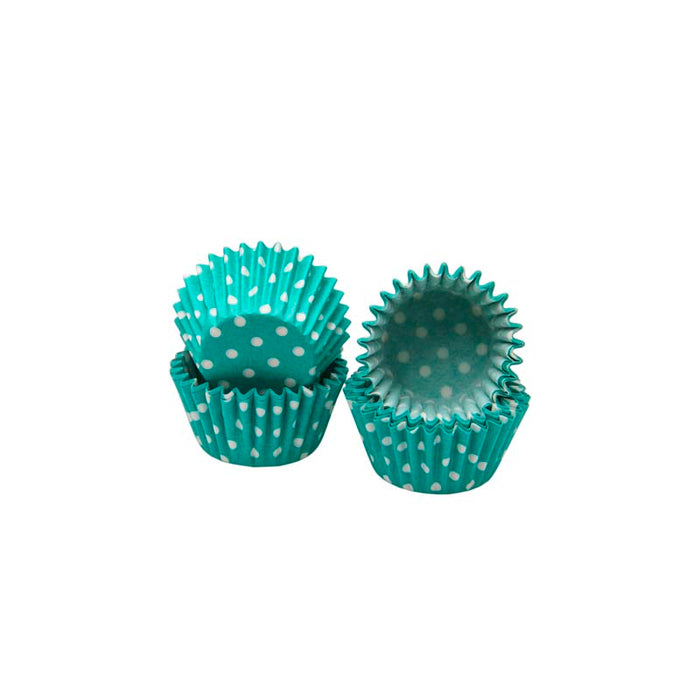 REGENT CAKE CUPS MINI TURQUOISE WITH WHITE DOTS, 60 PIECES (27MM:DX25MM) - DECO-Vie