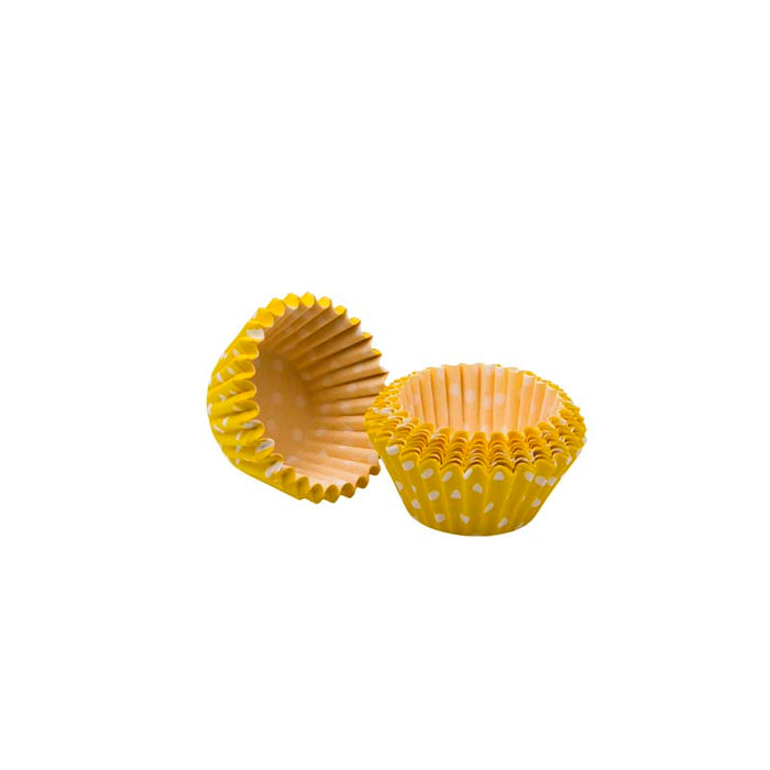REGENT CAKE CUPS MINI YELLOW WITH WHITE DOTS, 60 PIECES (27MM:DX25MM) - DECO-Vie