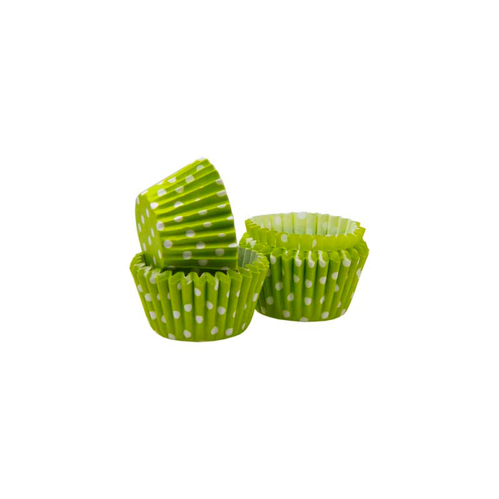 CAKE CUPS MINI LIME WITH WHITE DOTS, 60 PIECES (27MM:DX25MM) - DECO-Vie