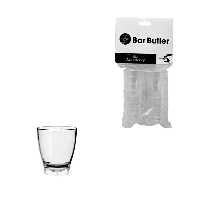 BAR BUTLER 10 CLEAR PLASTIC SHOT GLASSES IN HANG PACK (25ML) - DECO-Vie