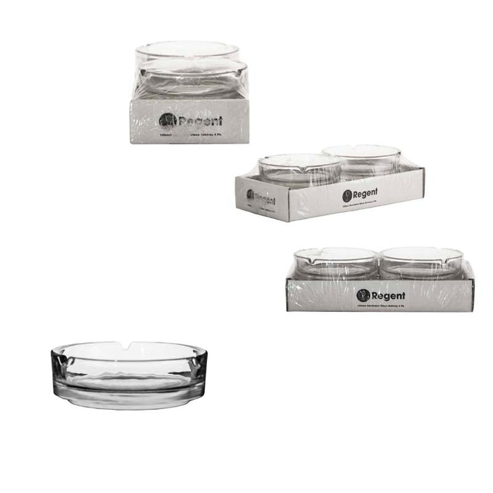 ROUND GLASS CLUB STACKABLE ASHTRAY, 4 PACK (100MM:DX30MM:H), MIN 10 PACKS - DECO-Vie