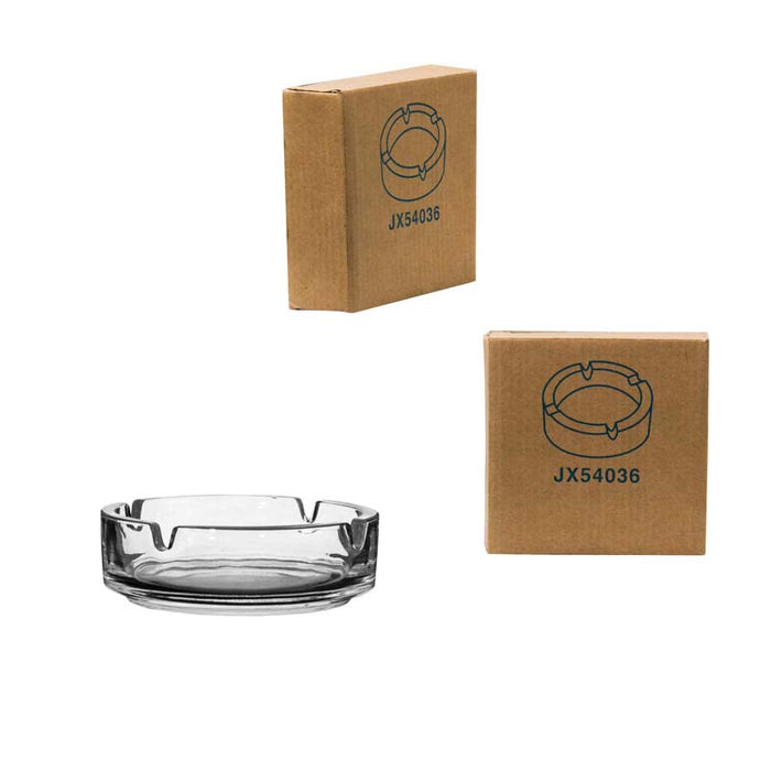 ROUND GLASS CLUB STACKABLE ASHTRAY (100MM:DX30MM:H)x 10 - DECO-Vie