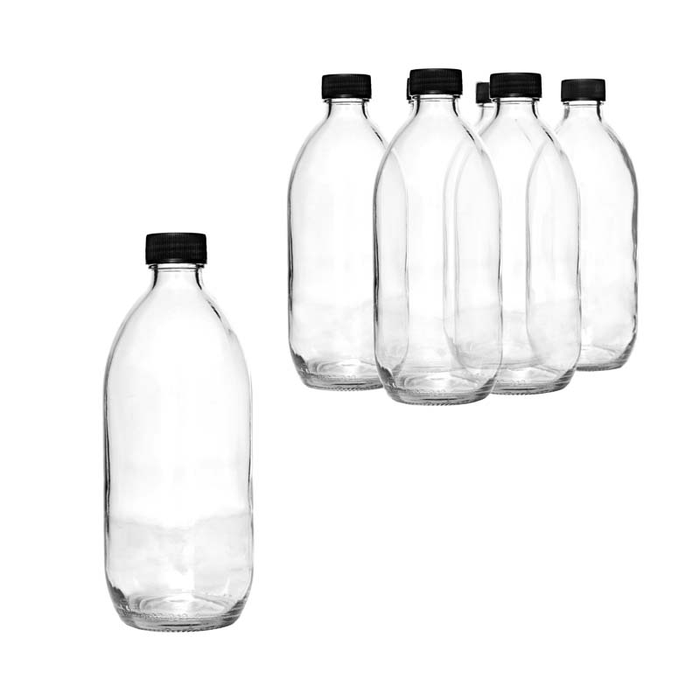 PHARMACEUTICAL BOTTLE WITH BLACK LID, 6 PACK (500ML) - DECO-Vie