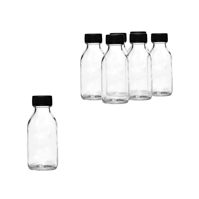 PHARMACEUTICAL BOTTLE WITH BLACK LID, 6 PACK (100ML) - DECO-Vie