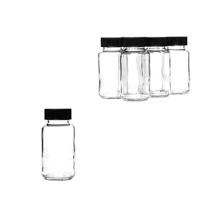 PHARMACEUTICAL JAR WITH BLACK LID, 6 PACK (132ML) - DECO-Vie