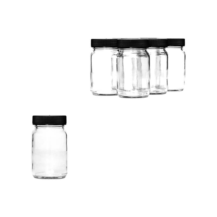 PHARMACEUTICAL JAR WITH BLACK LID, 6 PACK (125ML) - DECO-Vie
