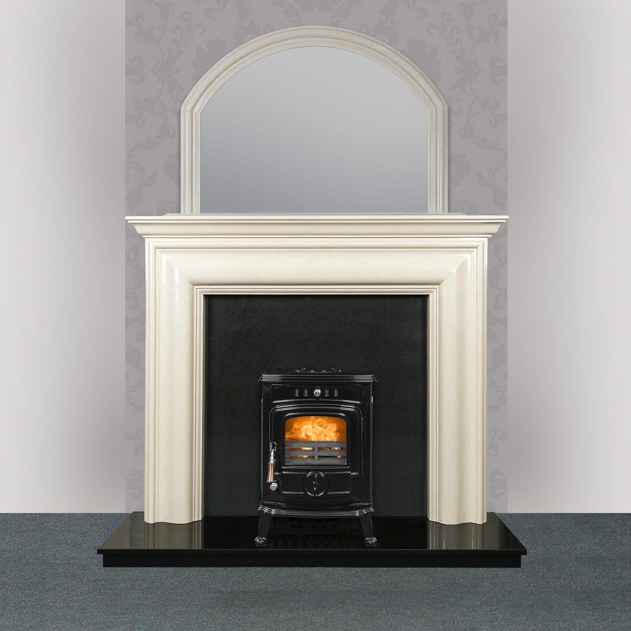 Image of Blake Fireplace in ivory pearl with The Robin Solid Fuel stove