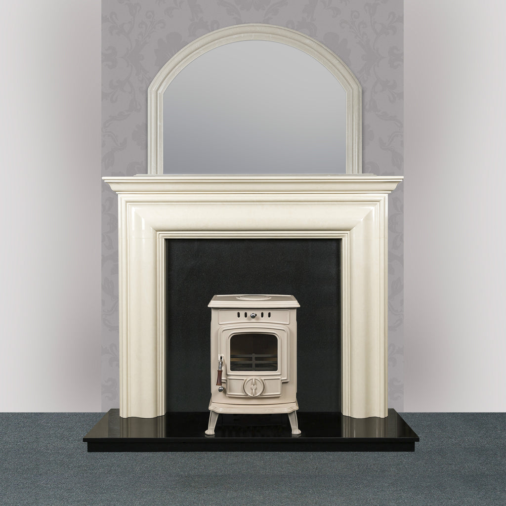 Image of Blake Fireplace in ivory pearl with The Robin Solid Fuel stove in cream enamel