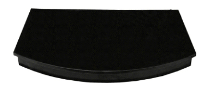 Image of Curved black granite hearth for stove