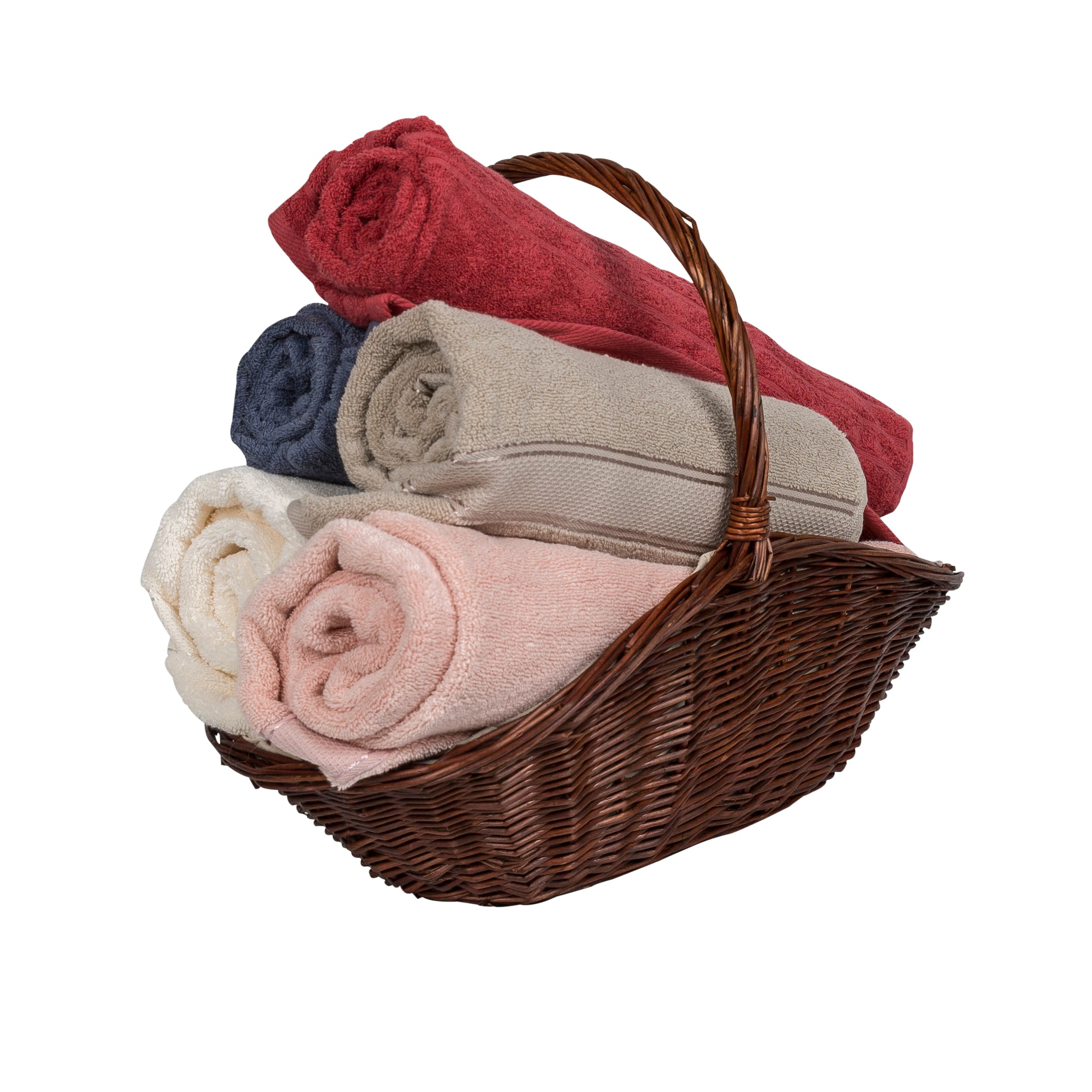 Image of Wicker basket holding an arrangement of towels