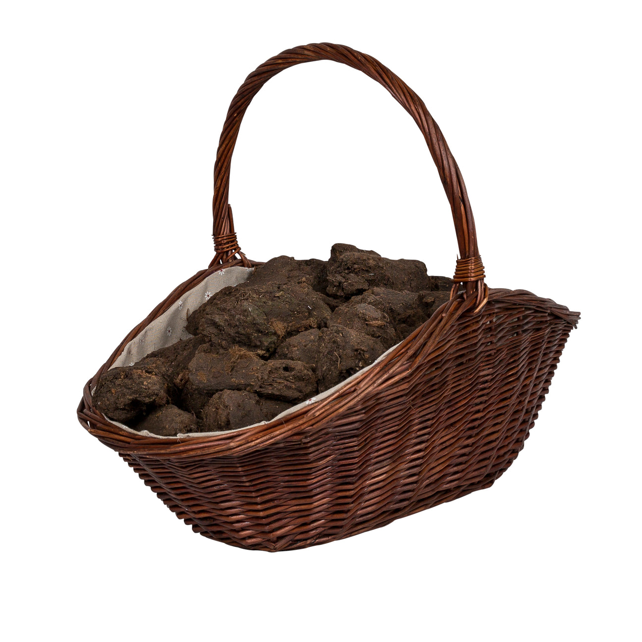 Image of Wicker basket holding turf peat briquettes