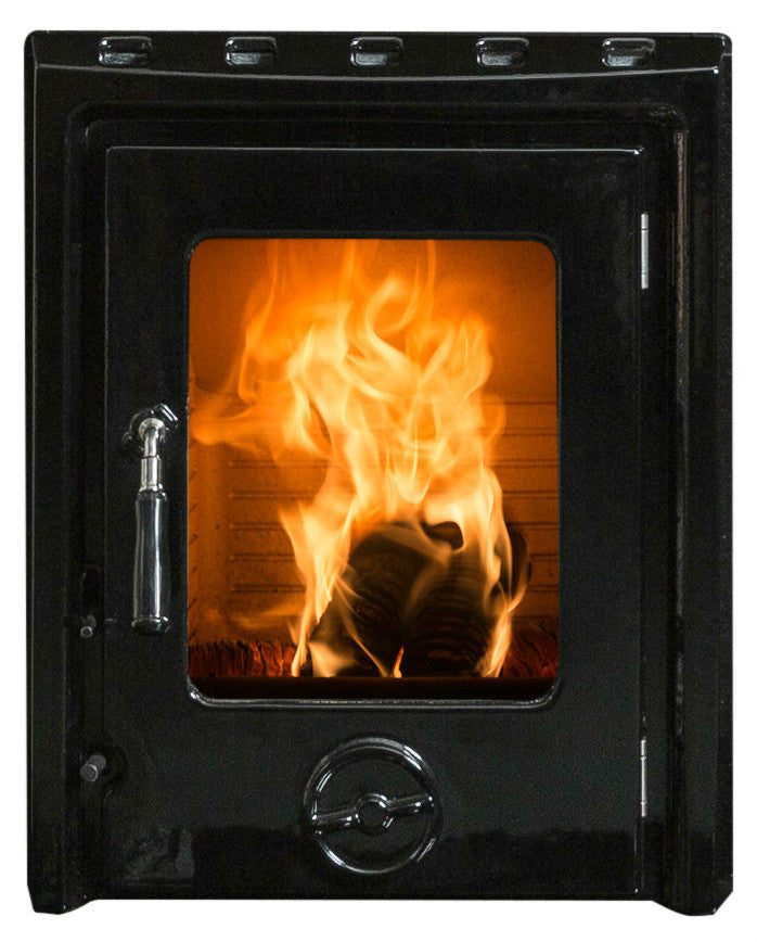 A front view image of The Kate non-boiler insert stove in enamel finish