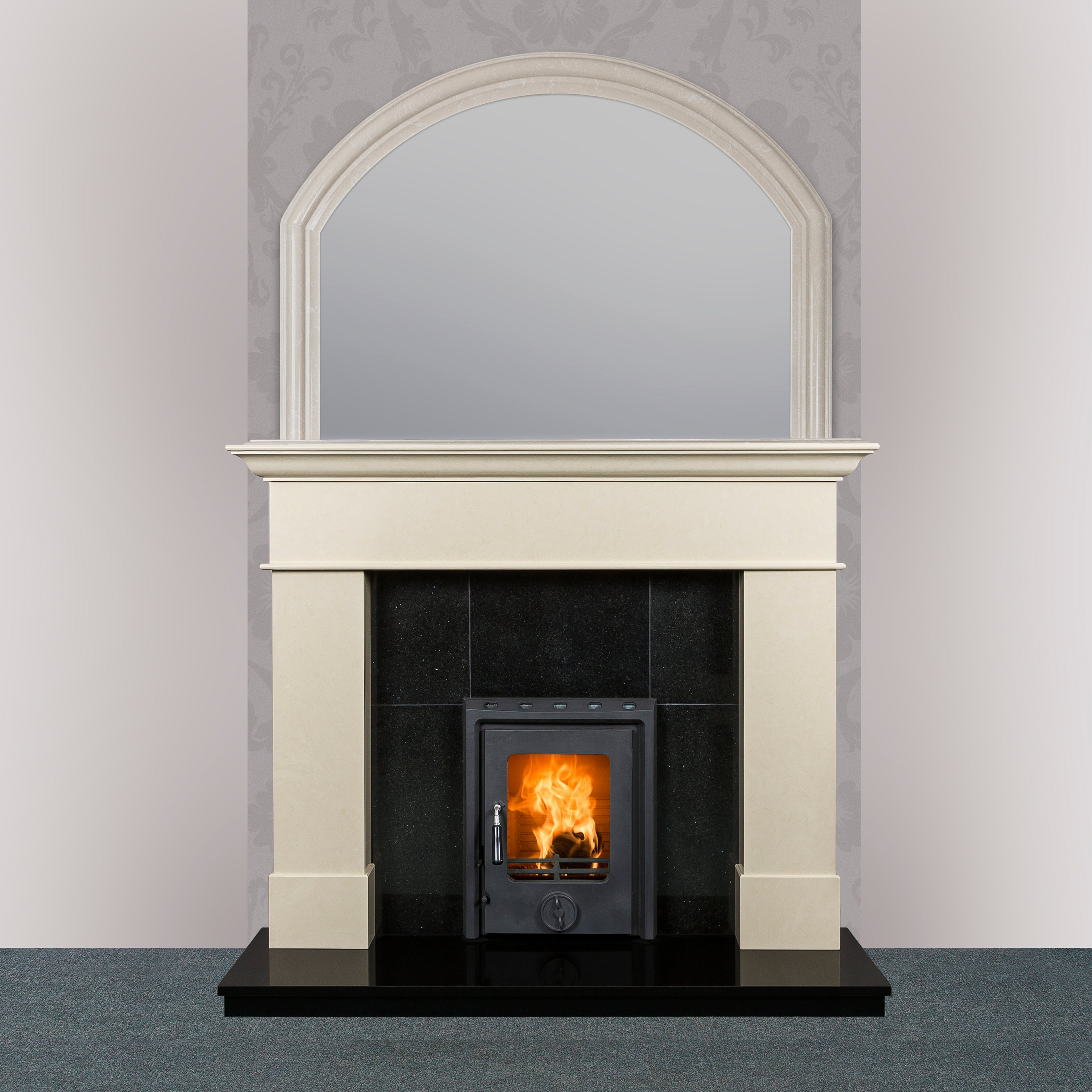 Image of Kate Insert Stove in Matt Finish with Geraldton Fireplace