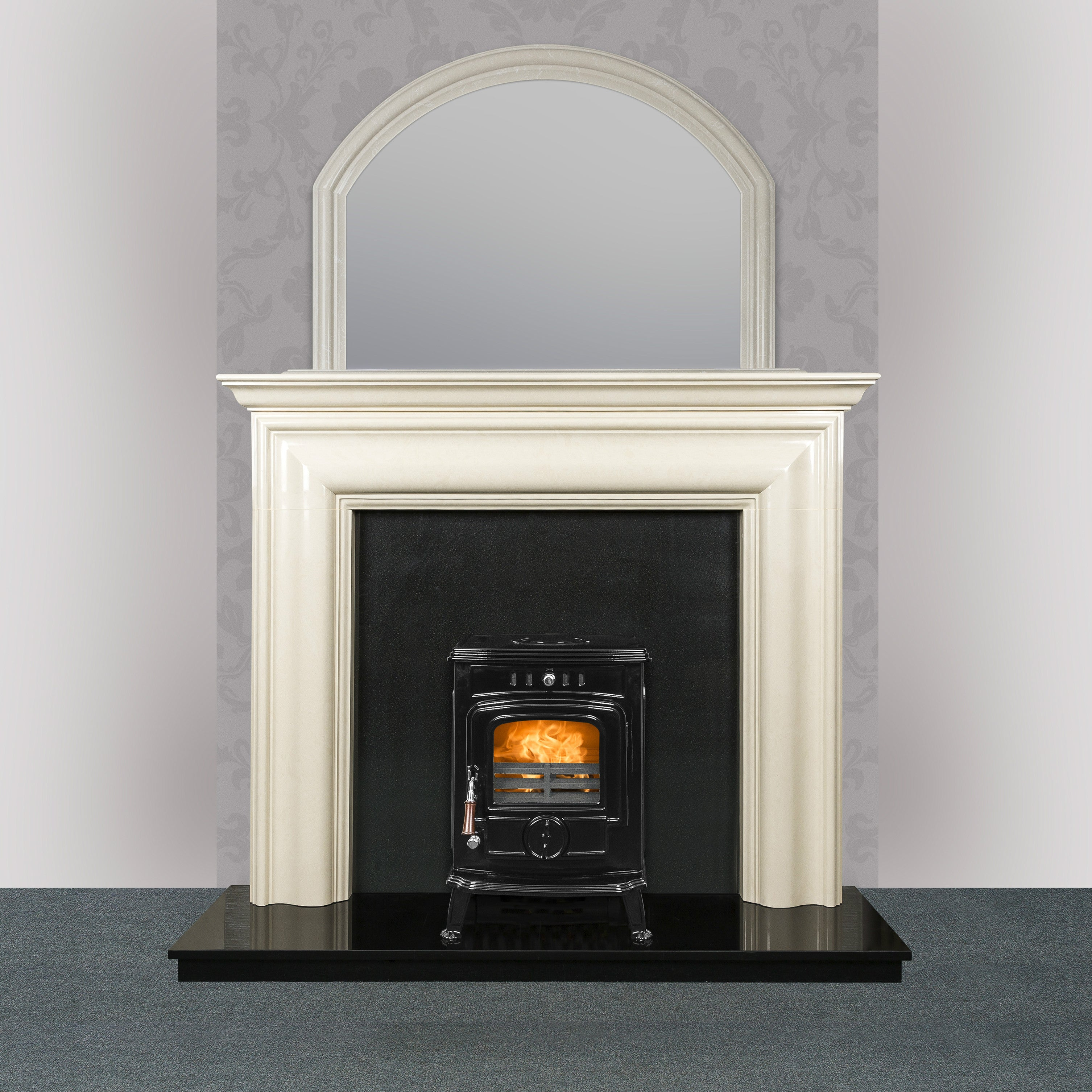 Image of Robin 5 kW Free Standing Stove with a marble fireplace