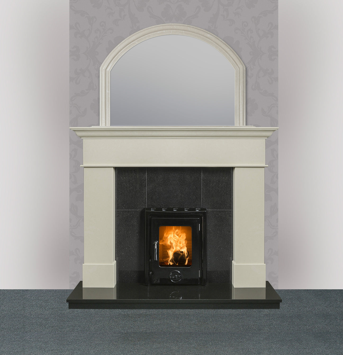 Image of Geraldton marble fireplace in ivory pearl finish with Kate insert stove enamel