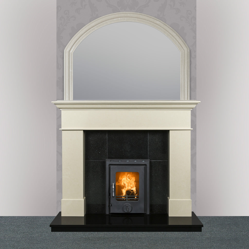 Image of Geraldton marble fireplace in ivory pearl finish with Kate insert stove