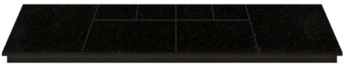 Image of a black polished granite hearth with expansion joints