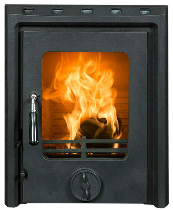 A front view image of The Kate non-boiler insert stove in matt finish