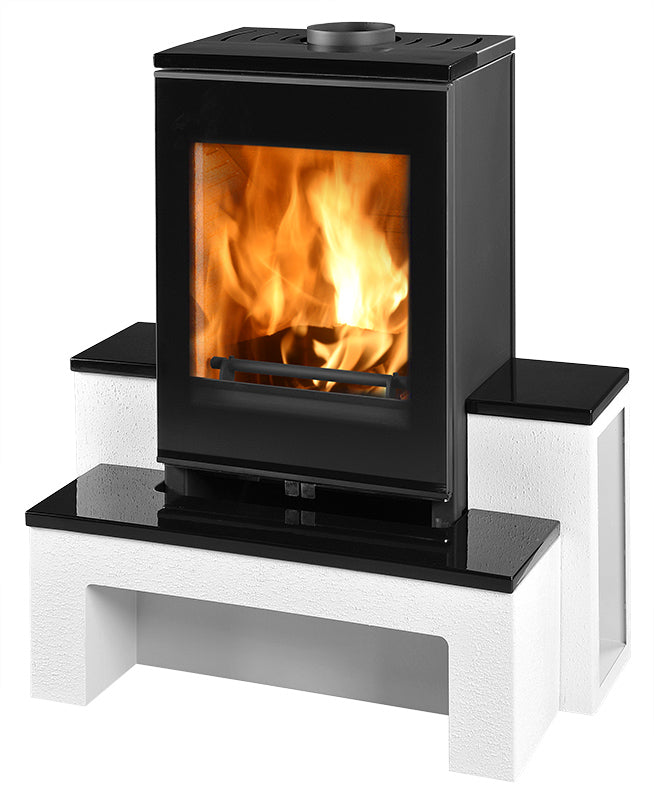 Image of Kimberley stove (black in colour) with fire lighting