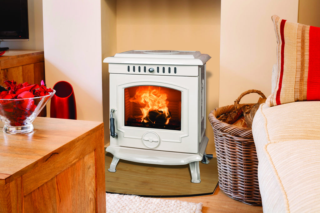 An image of The Fraser Free Standing Stove in cream enamel.