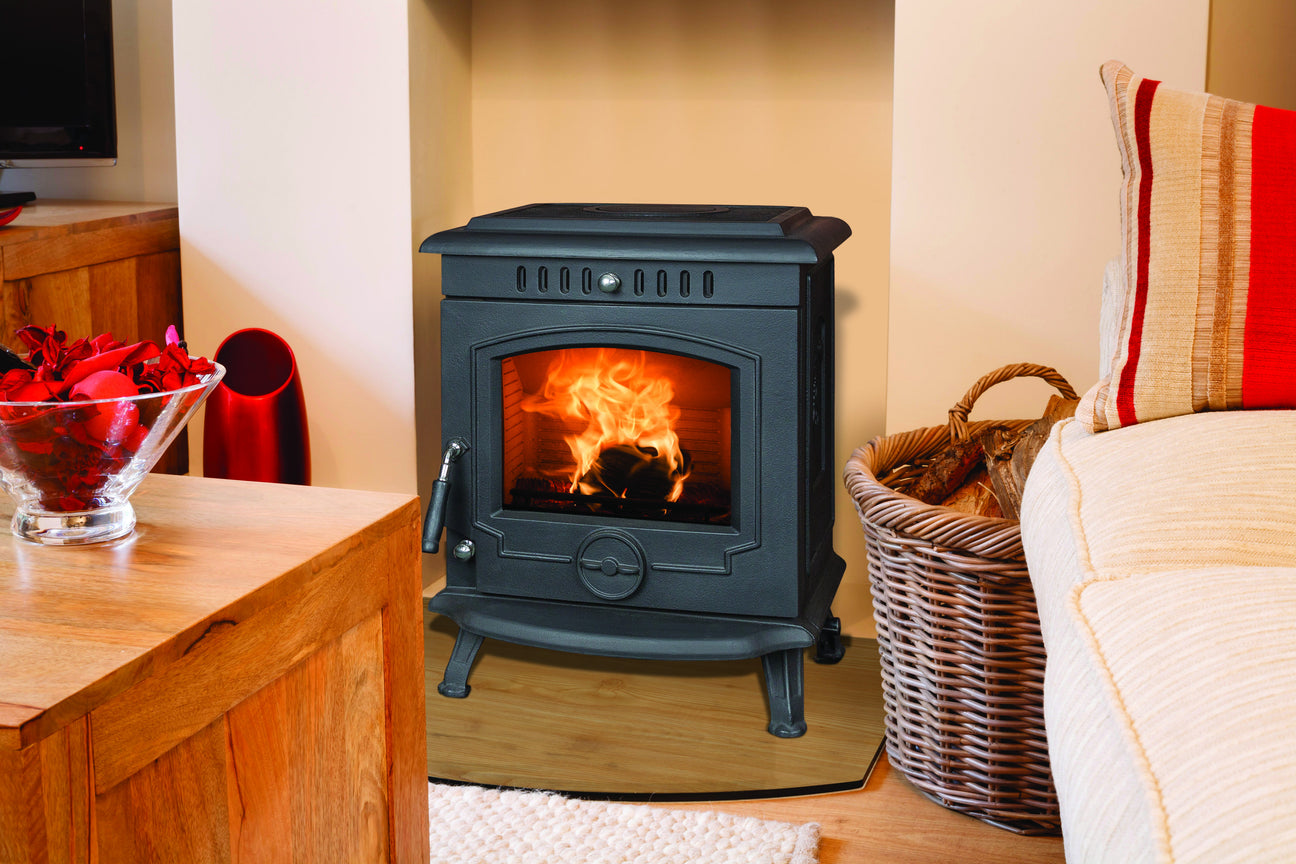 An image of The Fraser Free Standing Stove which can burn solid fuels.