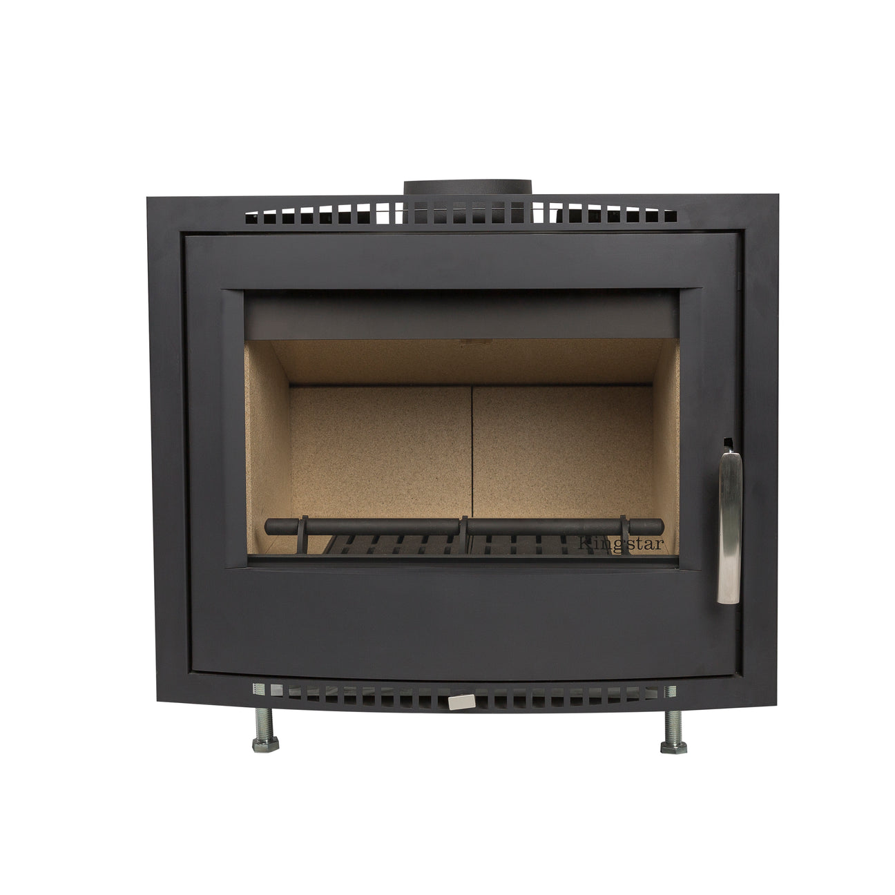 Shannon Passive Eco Stove shown with external air, air ducting and modern design.