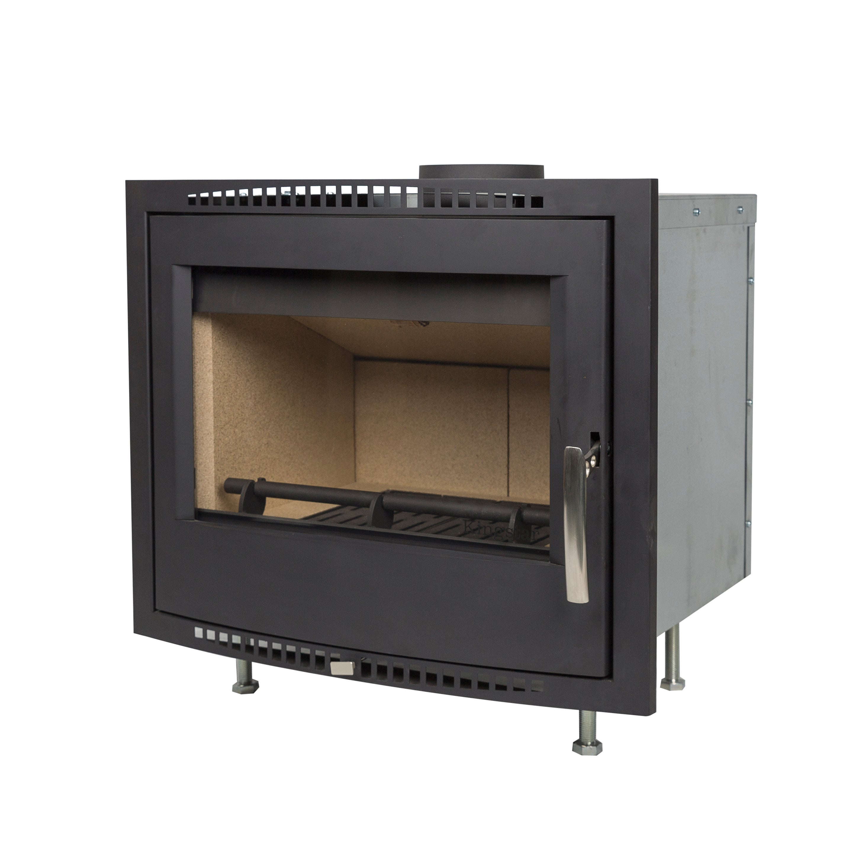 Shannon Passive Eco Stove shown with external air, air ducting and modern design -ideal for a passive house.