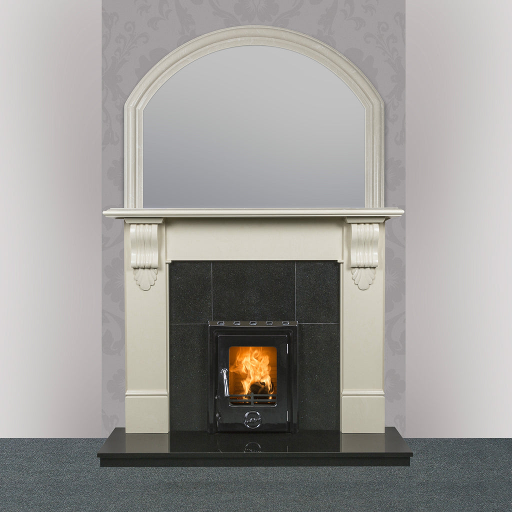 Image of Victoria Marble Fireplace in Ivory Pearl finish with Kate Insert stove in black enamel