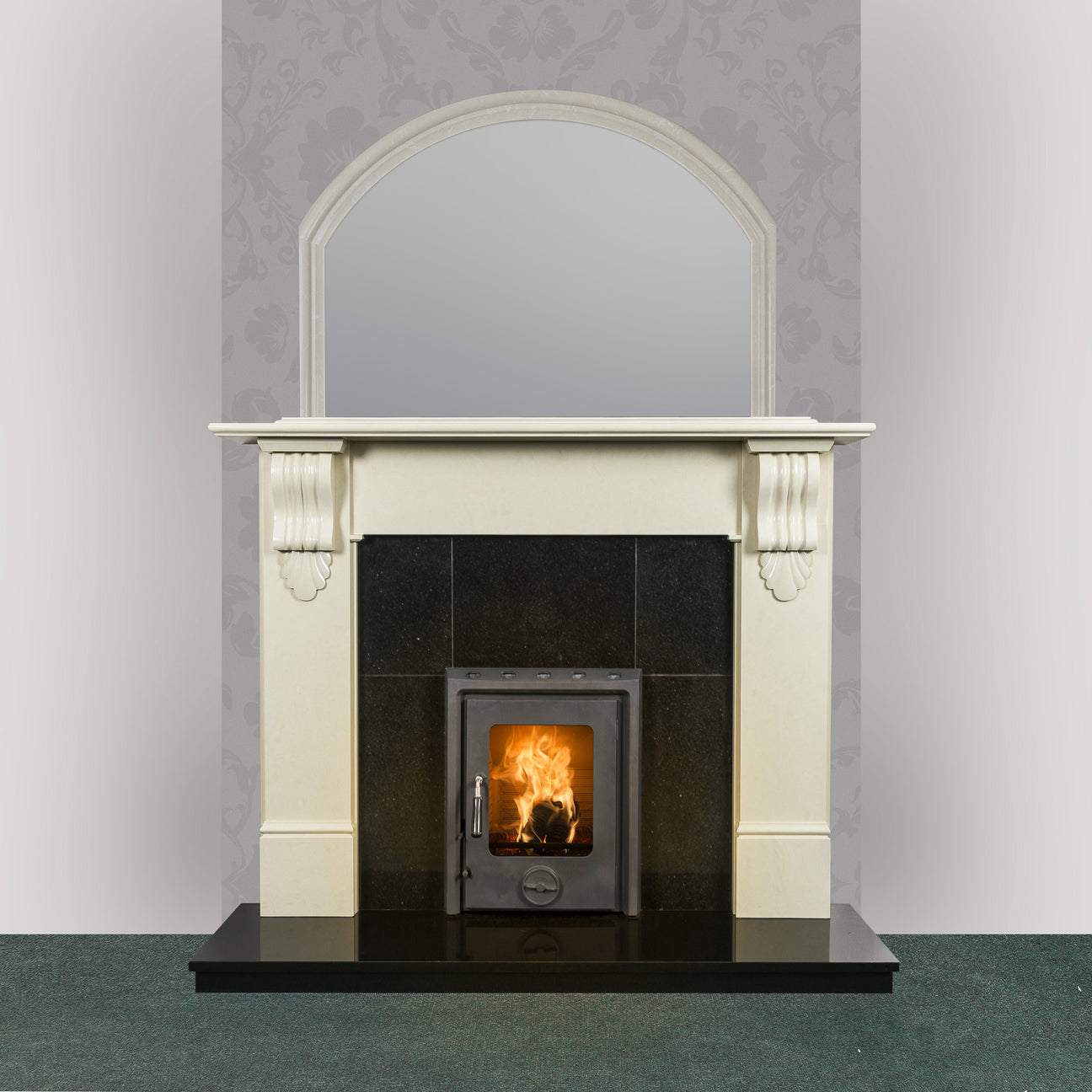 Image of Victoria Marble Fireplace in Ivory Pearl finish with Kate Insert stove in matt black