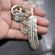 Handcrafted Solid Sterling Silver Feather Pendant Necklace