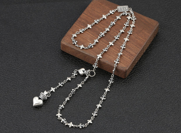 Crown Heart Necklace, Fleur De Lis Link Chain Necklace 925 Sterling Silver