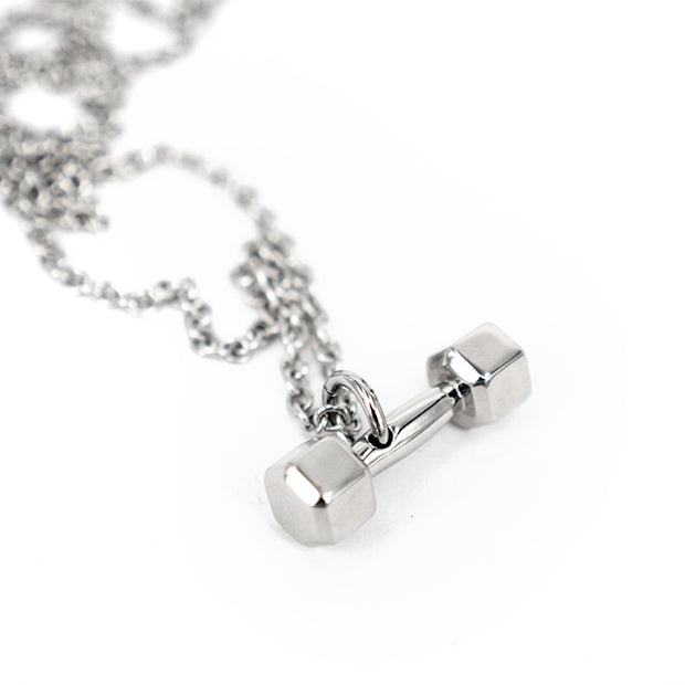 Fitness GYM Classic Dumbbell Stainless Steel Necklace