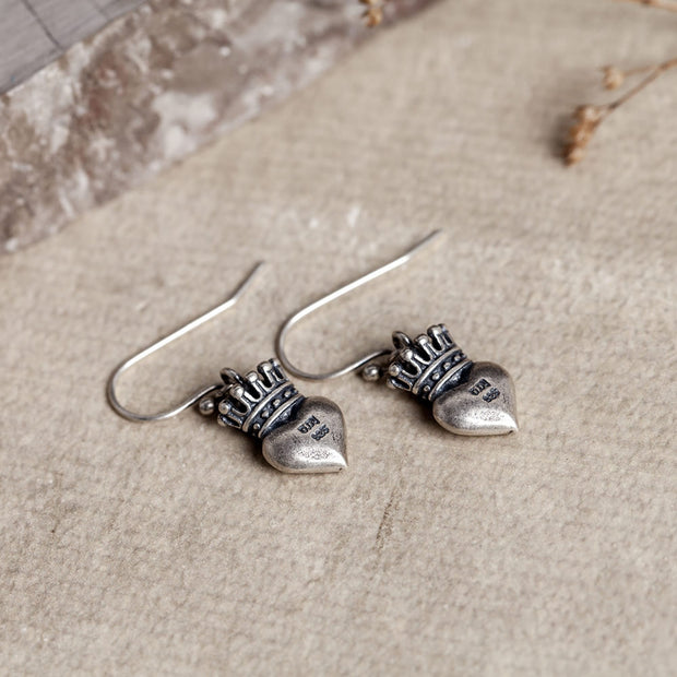 Silver Crown Heart Dangle Hoop Earring