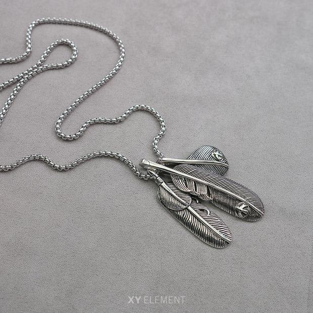 Stainless Steel Classic Feather Pendant Necklace