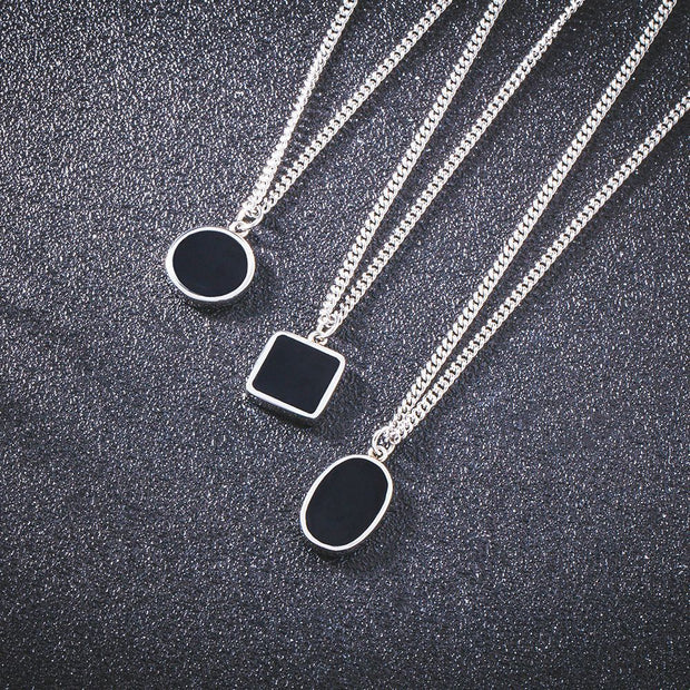 Minimalism Square Round Oval Shape Stainless Necklace Hip Hop K-Pop Style