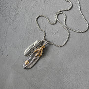 Goro's Style Eagle Claw Feather Titanium Steel Pendant Necklace