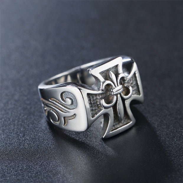 Gothic Fleur de Lis Cross Stainless Steel Ring