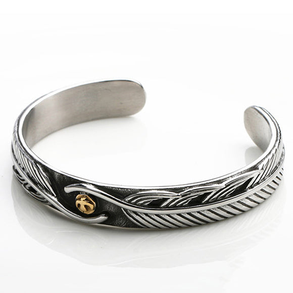 Japanese Goro's Style Feather Bangle Stainless Steel Bracelet